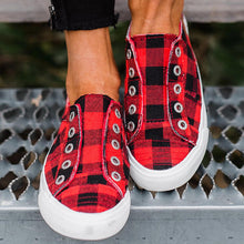 Load image into Gallery viewer, Women Plaid Slip-On Round Toe Flat Heel Casual Sneakers
