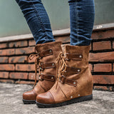 Women Fashion Winter Wedge Heel Lace-up Ankle Boots