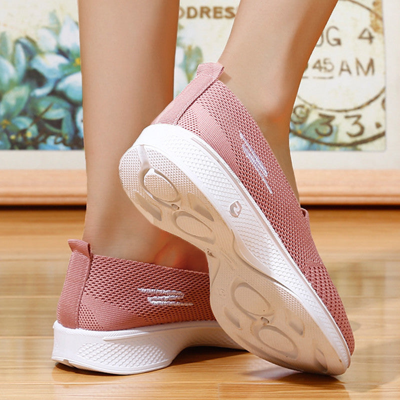 Women Casual Daily Flyknit Fabric Light Weight Flat Sneakers
