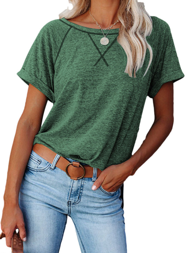 Women Solid Color Short Sleeve T-shirts