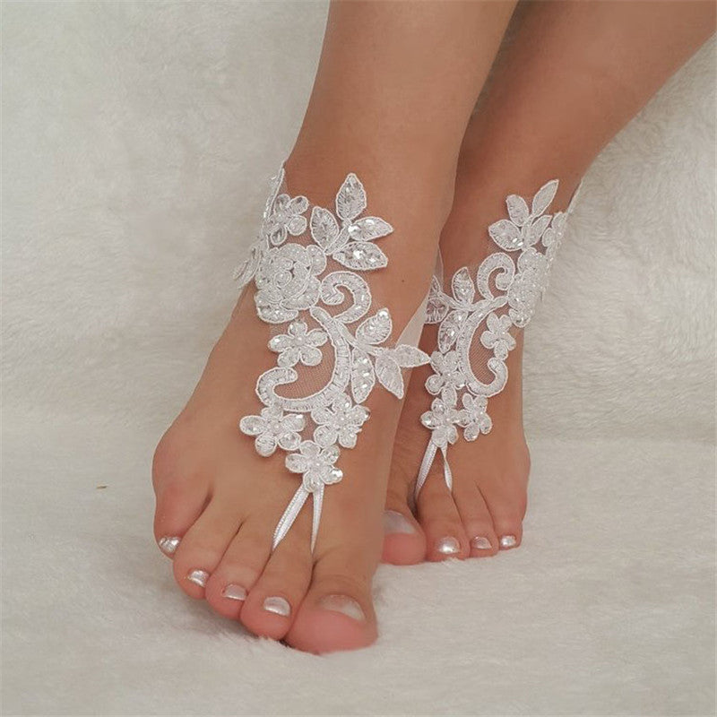 1 Pair Bridal Anklets Sequins Lace Wedding Decor Chain Elegant Beads Foot Chain