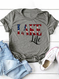 Lake Like Letters Printed Simple Crew Neck Short-Sleeved T-Shirts