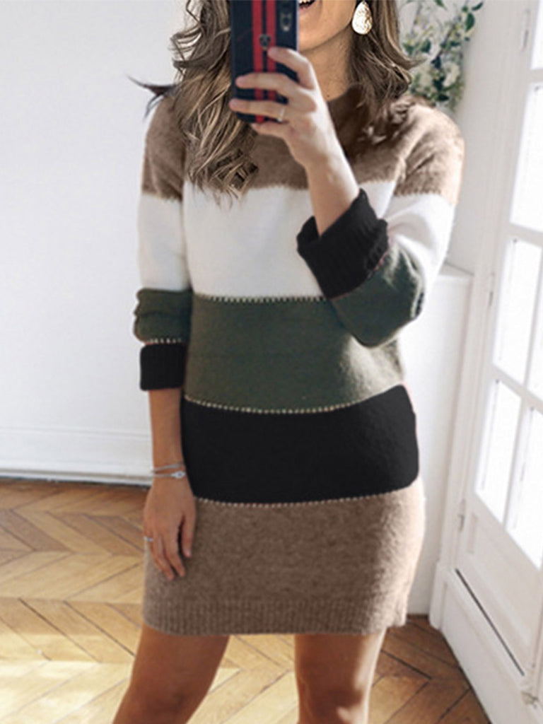 Women Pure Color Stitching Knitted Skirt Casual Round Neck Sweater Dress