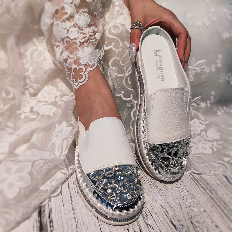 Women Large Size Rhinestone Flat Slippers