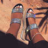 Women Large Size Rhinestone Wedge Sandals