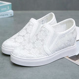 Women Casual Comfy Simple Lace Slip On Wedge Heel Loafers