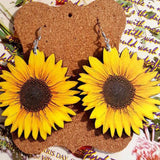 3D Three-Dimensional Wooden Sunflower Pattern Earrings