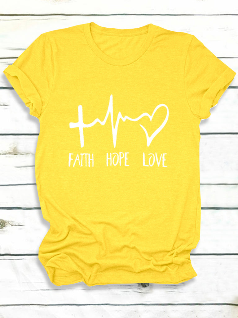 Faith Hope Love Letter Printed Short Sleeve Crew Neck T-Shirts for Women