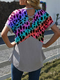 Leopard Print V-neck Short-Sleeved Knitted T-shirts