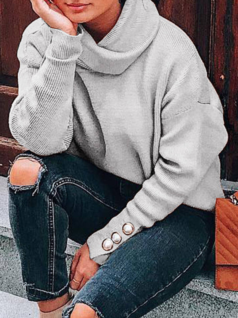 Turtleneck Sweater Solid Womens Knit Sweaters