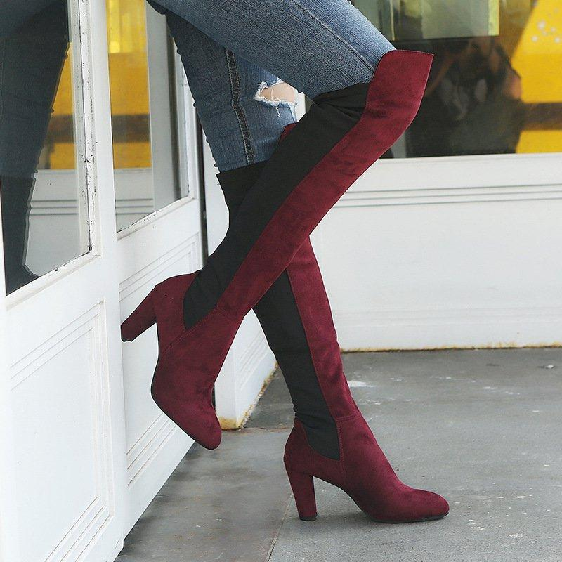 Women Elegant Color Block Slip-on Chunky Heel Boots
