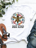 Bee Print Casual Short Sleeve Cotton T-shirts