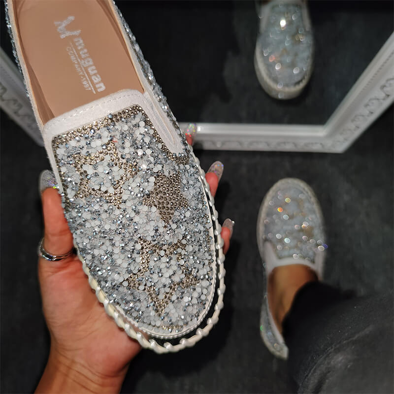 Women Chic Shining Star Rhinestone Slip-on Loafers