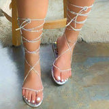 Women Casual Fashion Pu Lace-up Flip-flop Flat Sandals