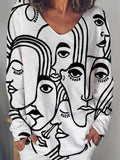 Women Abstract Print Long Sleeve Loose Crew Neck T-shirts