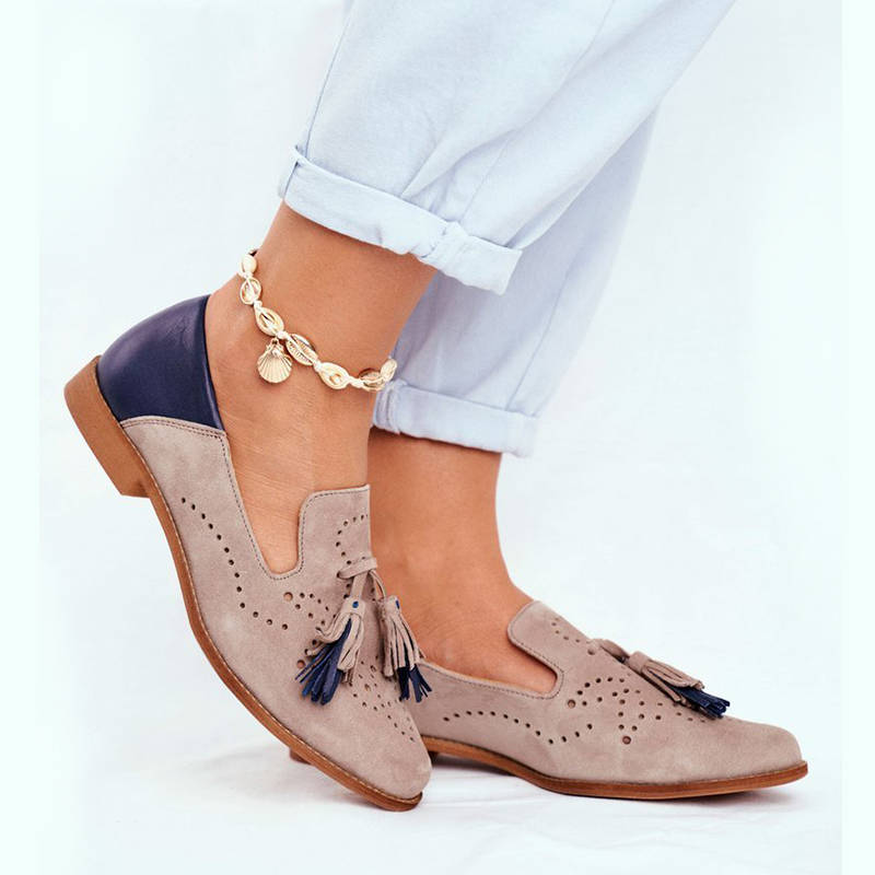 Women Casual Tassel Slip On Hit Colors Low Heel Loafers