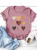Women Heart Print Round Neck Casual Short Sleeves T-shirts