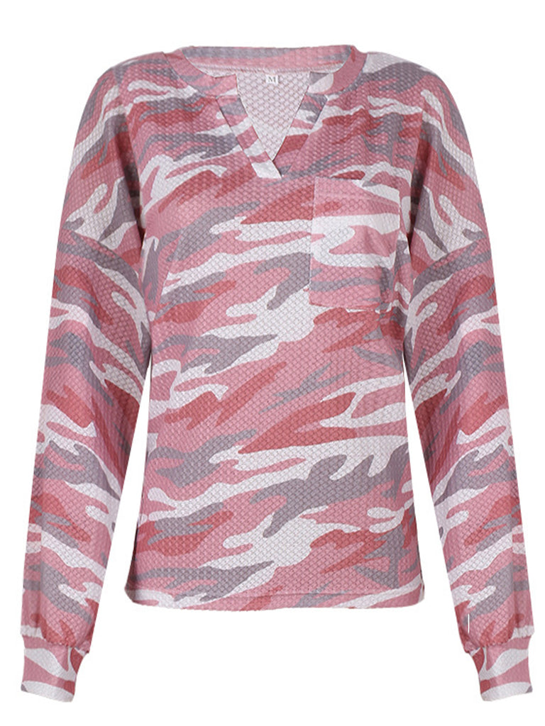 Tie-dye Printed Long Sleeve V-Neck Casual T-shirts