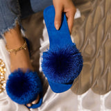 Women Suede Feather Square Toe Slip On Flat Heel Slippers
