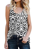 Women Casual Sleeveless Round Neck Leopard Print Vests