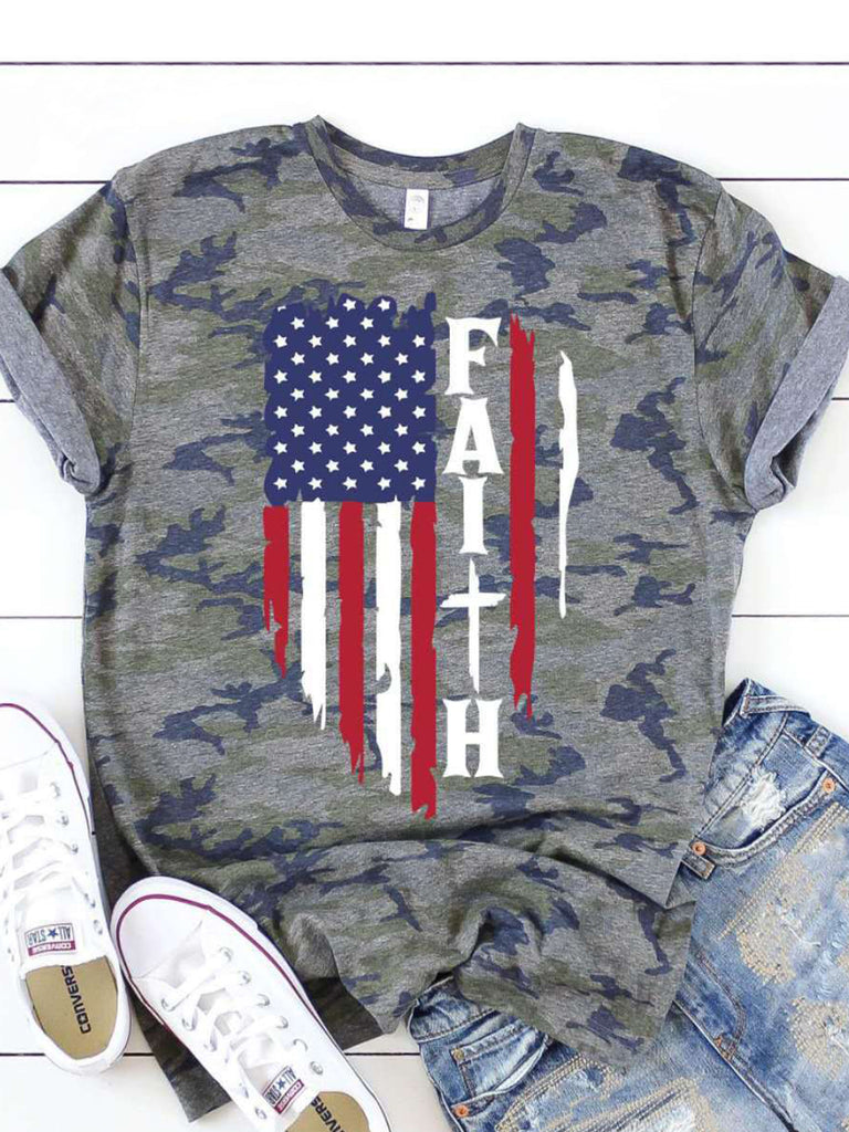 Camouflage Print Crew Neck Short Sleeve T-Shirts