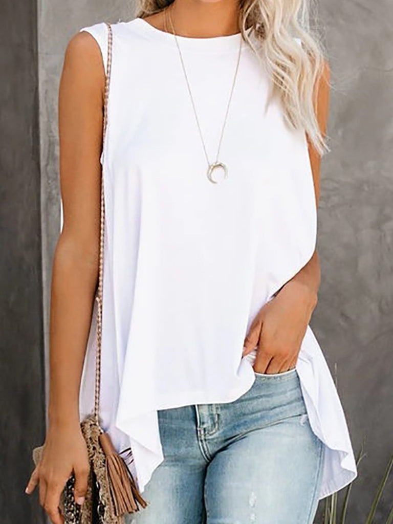 Solid Paneled Sleeveless Fashion Summer Tanks