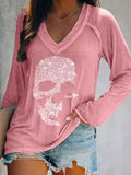 Women Skull Diamond Casual Long Sleeve V-neck T-shirts