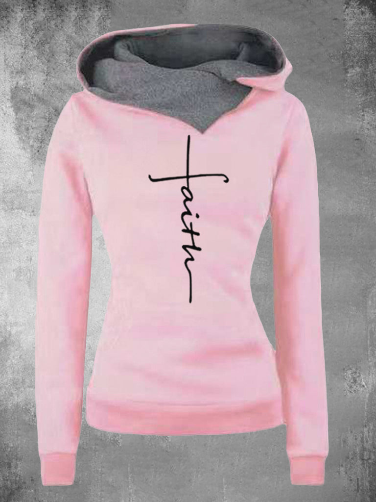 Women Shawl Collar Embroidered Hooded Sweatshirts