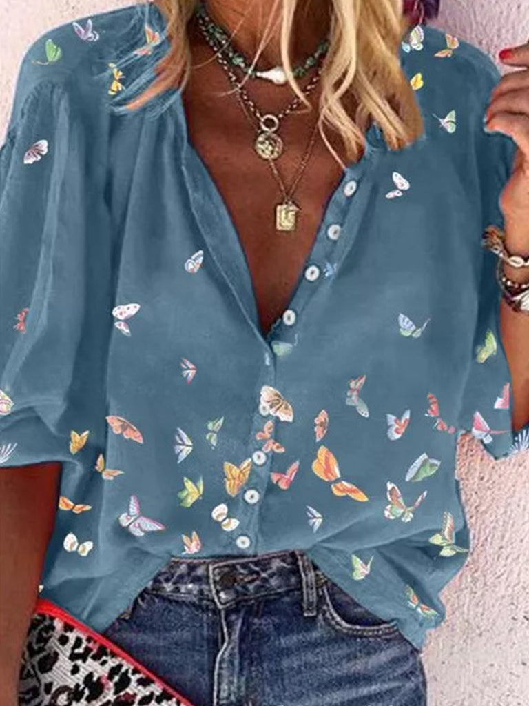 Women Butterfly Print Button Stand Collar Blouses