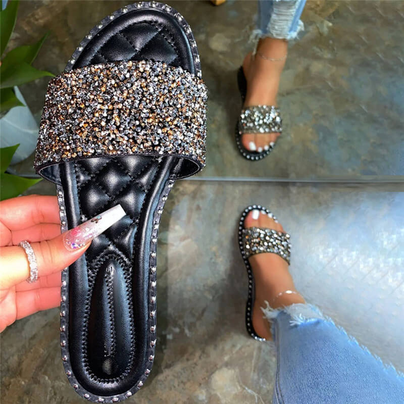 Women Casual Shining Paillette Open Toe Slip On Flat Heel Slippers