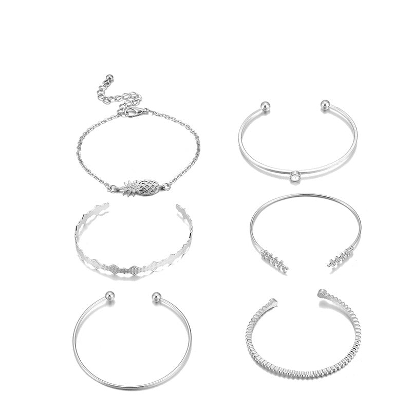 Women 6-piece With Diamond and Air Alloy Bracelet