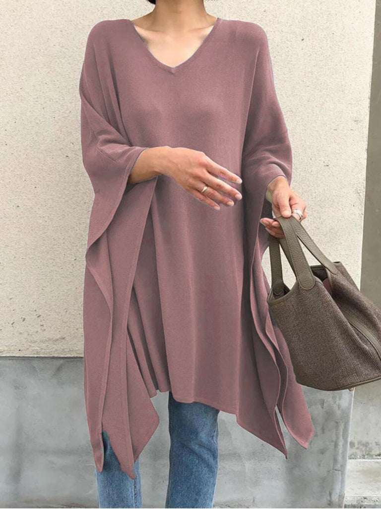 Women Solid Batwing V Neck Tops