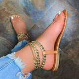 Women Casual Daily PVC Chain Flat Heel Sandals