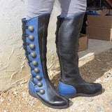 Women Vintage Fashion Color Wide Calf Block Riding Boots