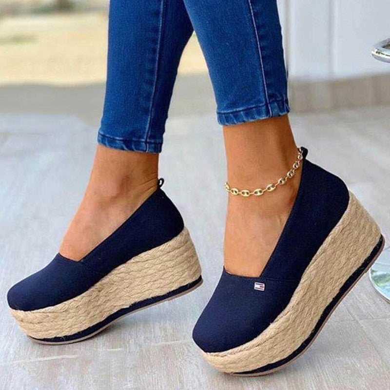 Women Casual Simple Cotton Cloth Platform Wedge Heel Loafers