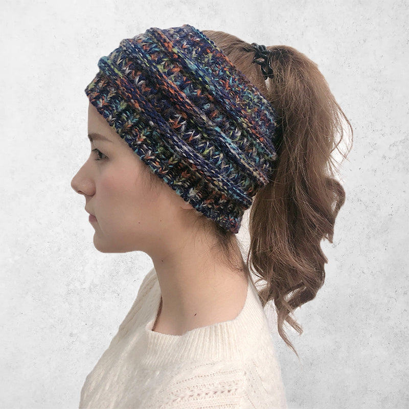 Knitted Ponytail Pullover Cap Woolen Womens Hat