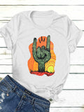 Cactus Fingers Simple Fashion Letter Printed Short Sleeve T-shirts