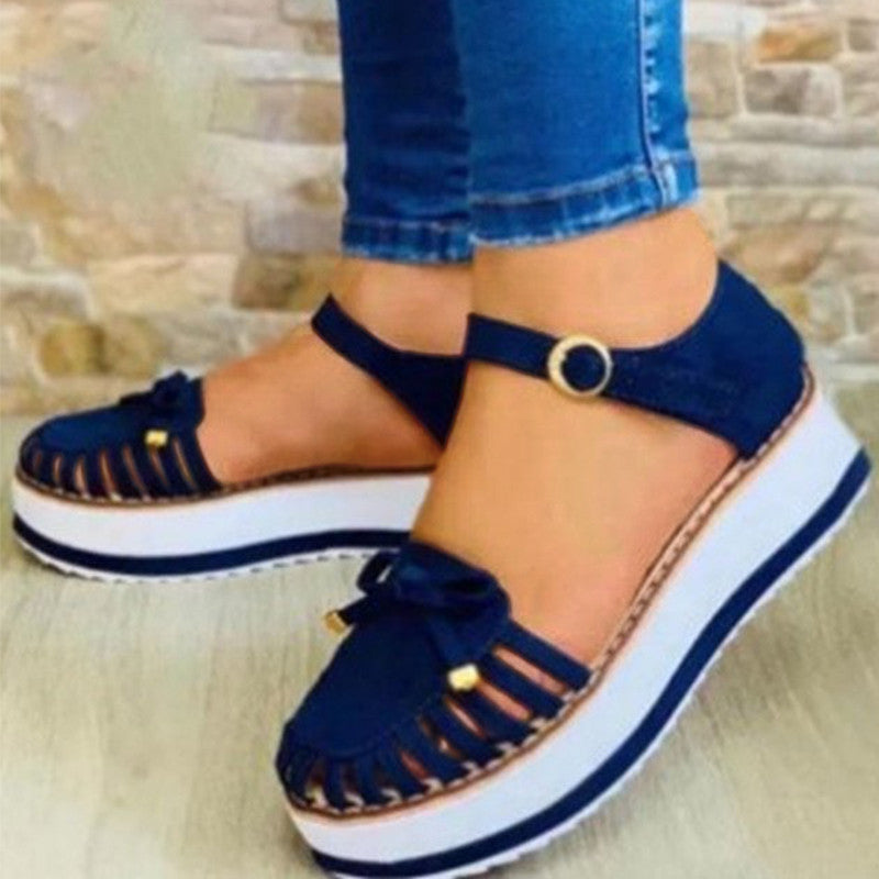 Women Casual Fashion Pu Bowknot Hollow-out Adjusting Buckle Platfrom Sandals