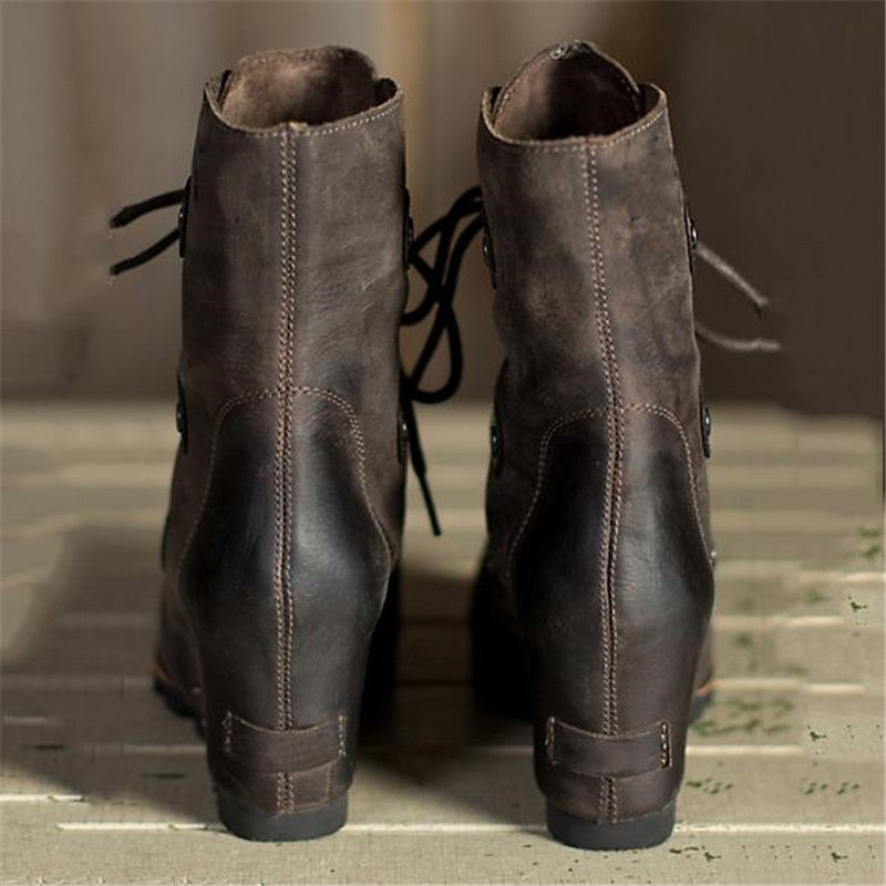 Women Winter Fashion Wedge Heel Lace-up Ankle Boots