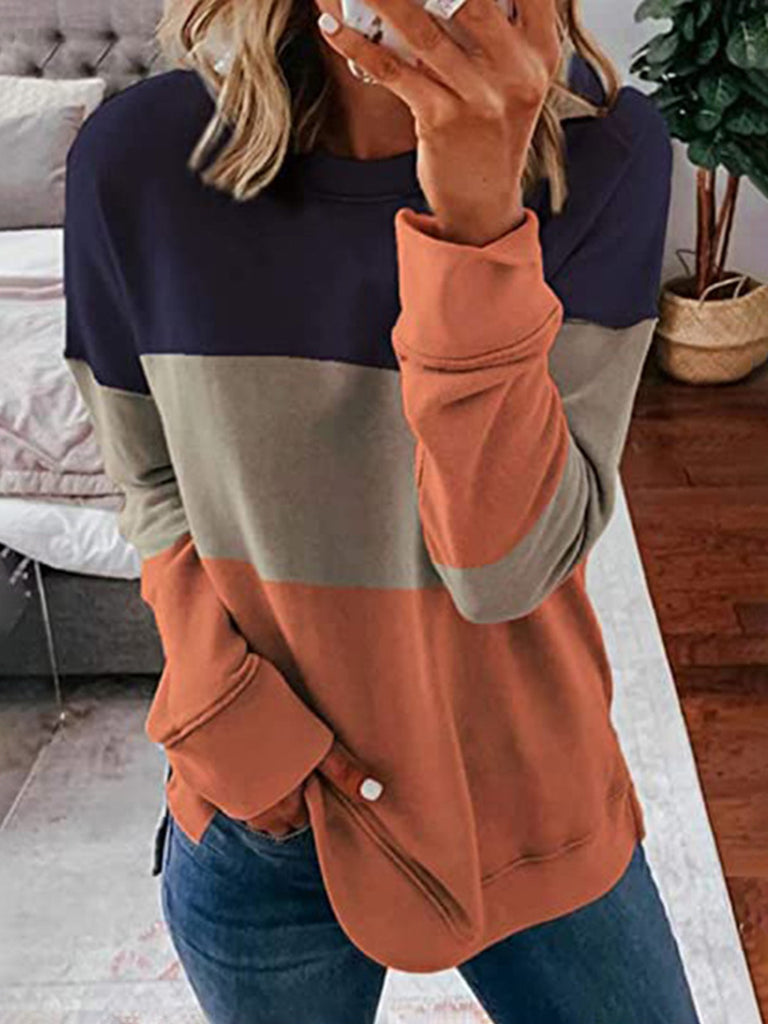 Women Solid Color-block Crew neck Casual Long sleeve T-shirt