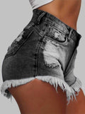 Women Fringed Casual Ripped Denim Shorts