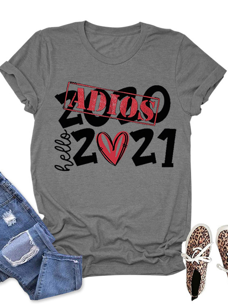 Love Print Crew Neck Short Sleeves T-shirts for Women