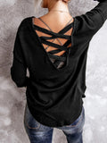 Sexy Crew Neck Polyester Cross Webbing Open Back Long Sleeve T-Shirts