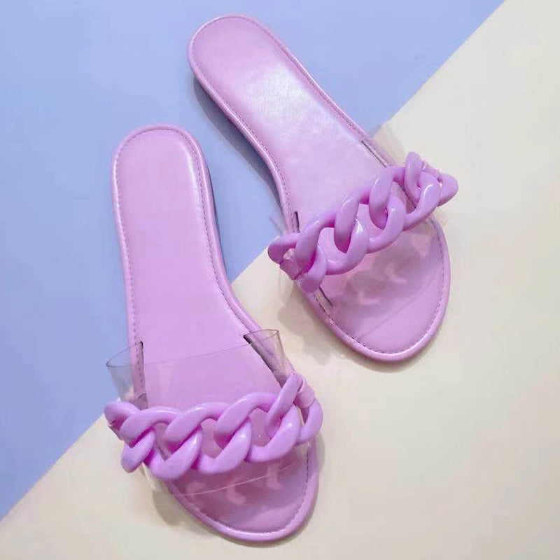 Women Simple Fashion PVC Chain Flat Sandals Slippers