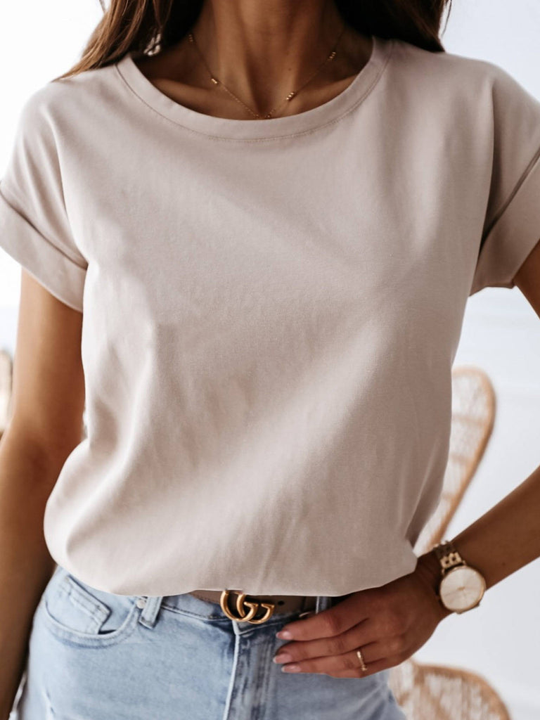 Women Summer Simple Solid Short Sleeved Round Neck T-shirt
