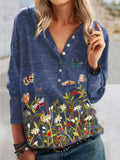 Floral Butterfly Print Casual V-Neck Long-Sleeved T-shirts
