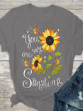 Chrysanthemum Pattern Print Women T-shirts