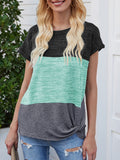 Color-block Short Sleeved T-shirts