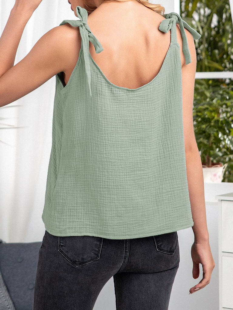 Solid Color V-neck Spaghetti Lace-up Sexy T-shirts