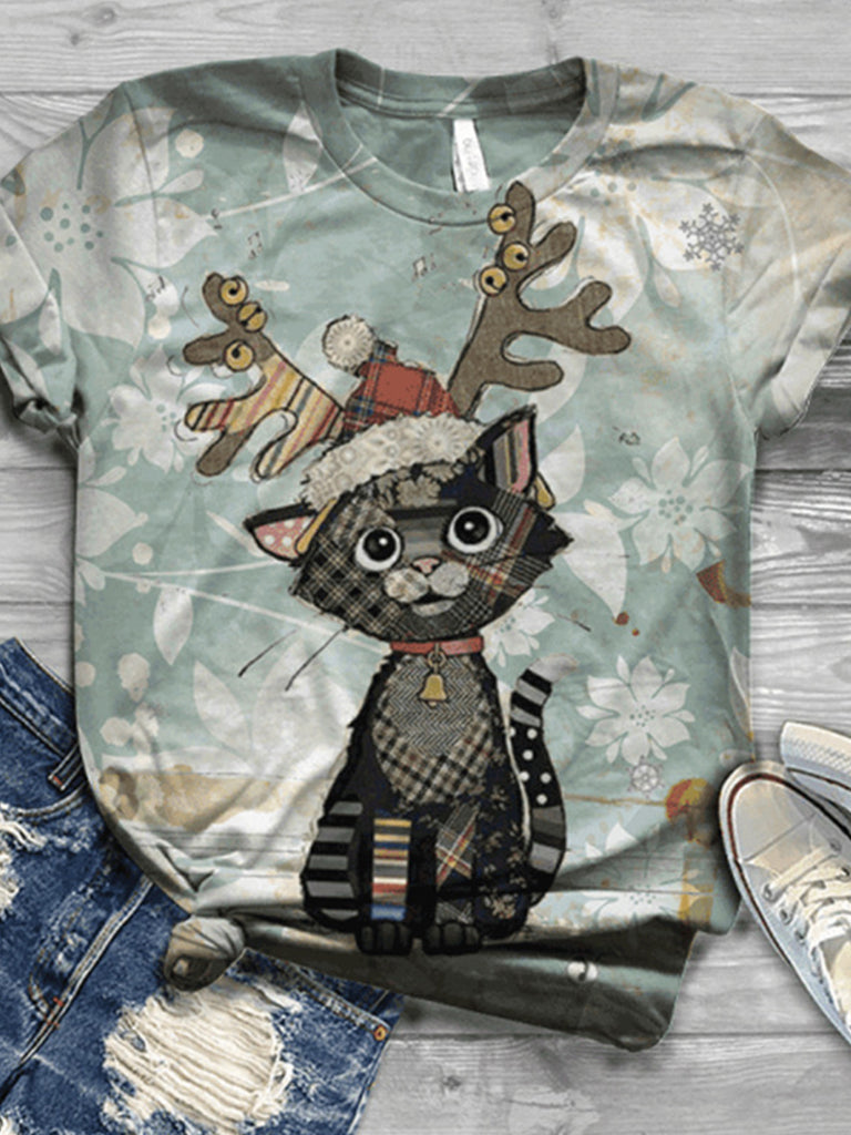 Women Christmas Printed Crew Neck Short Sleeve T-shirts